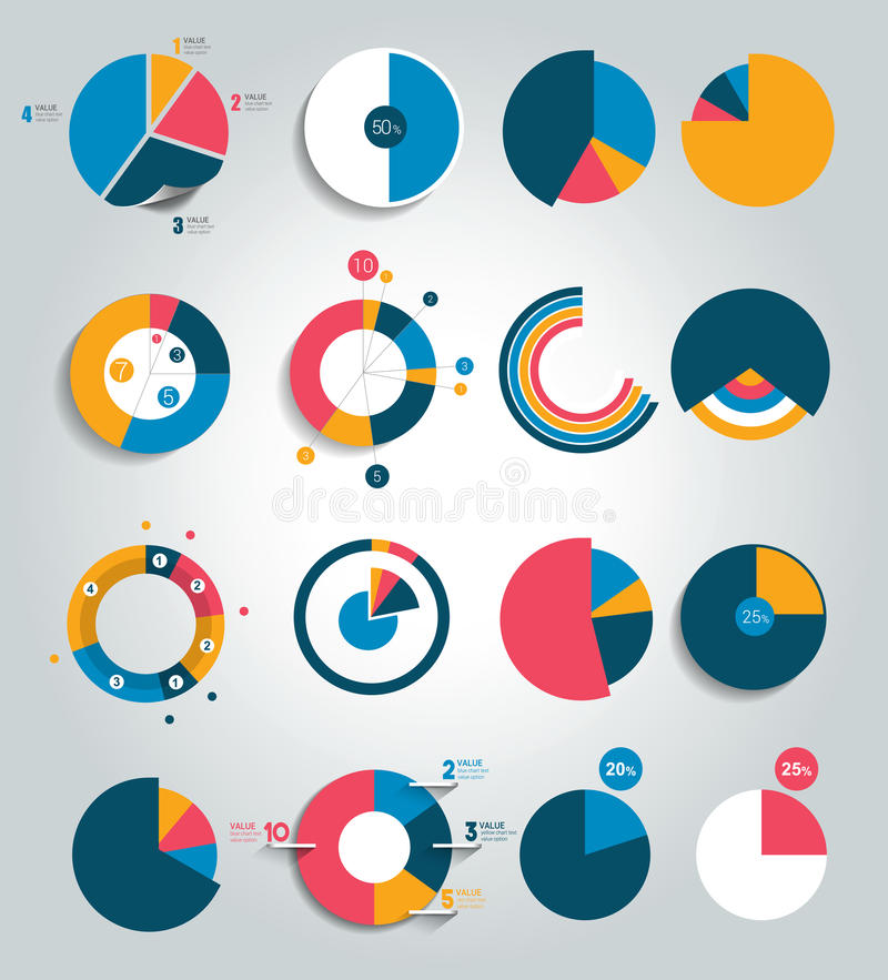 Grote reeks van ronde, cirkelgrafiek, grafiek Eenvoudig editable kleur stock illustratie