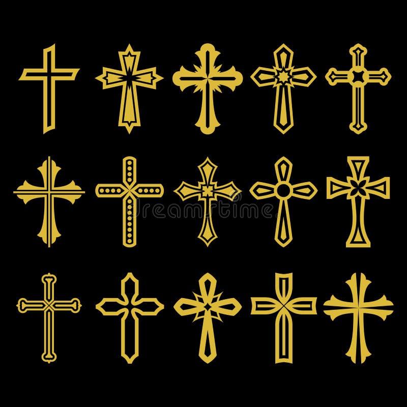 Grote reeks van vectorkruis, inzameling van ontwerpelementen voor het creëren van emblemen Christelijke symbolen vector illustratie