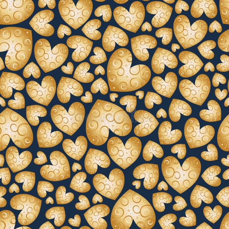 Grote reeks van verschillende grootte van harten met wervelingen Vector naadloos patroon Gouden gradiëntachtergrond met liefdeele vector illustratie