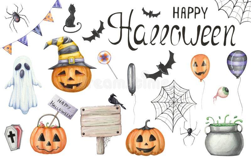 Grote reeks van waterverfsymbolics voor Halloween op een wit stock illustratie