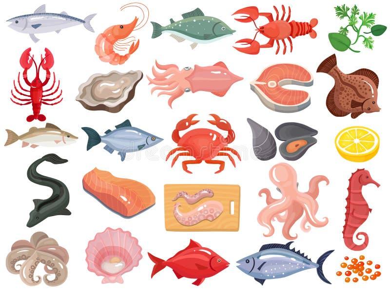 Grote Reeks van zeevruchten de Vlakke Pictogrammen vector illustratie