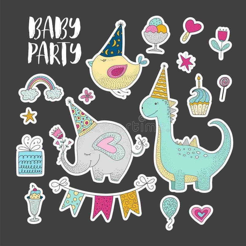 Grote reeks vector de klemarts. van de verjaardagspartij Leuke hand getrokken dieren en beeldverhaalelementen royalty-vrije illustratie