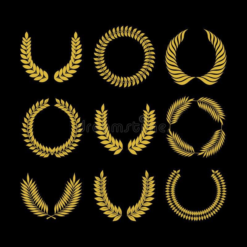 Grote reeks vectorbollen, inzameling van ontwerpelementen voor het creëren van emblemen Grote reeks vectorvlammen, inzameling van stock illustratie