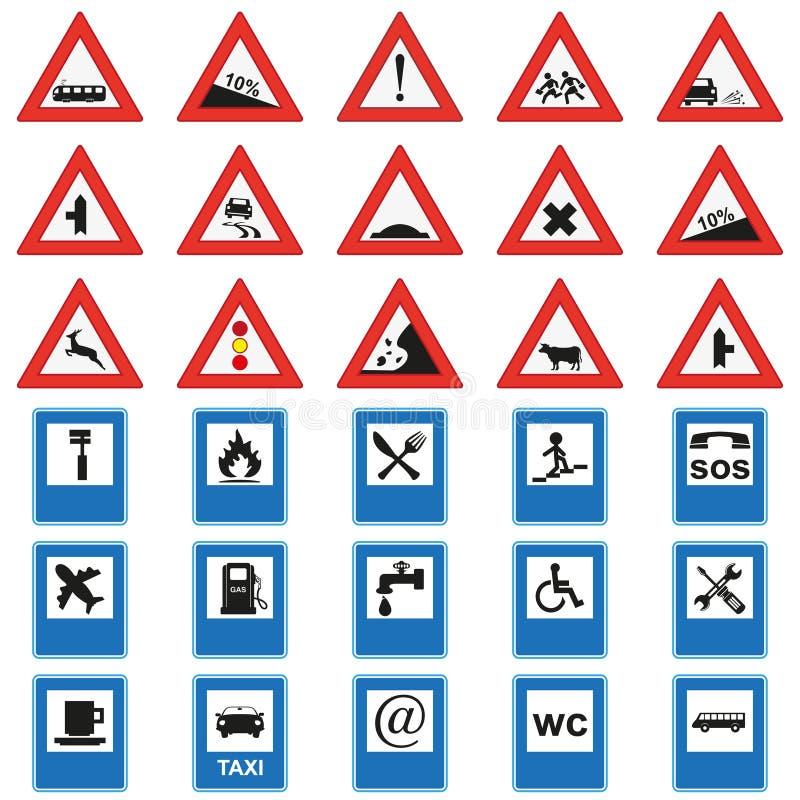 Grote reeks verkeersteken Rood en blauw royalty-vrije illustratie