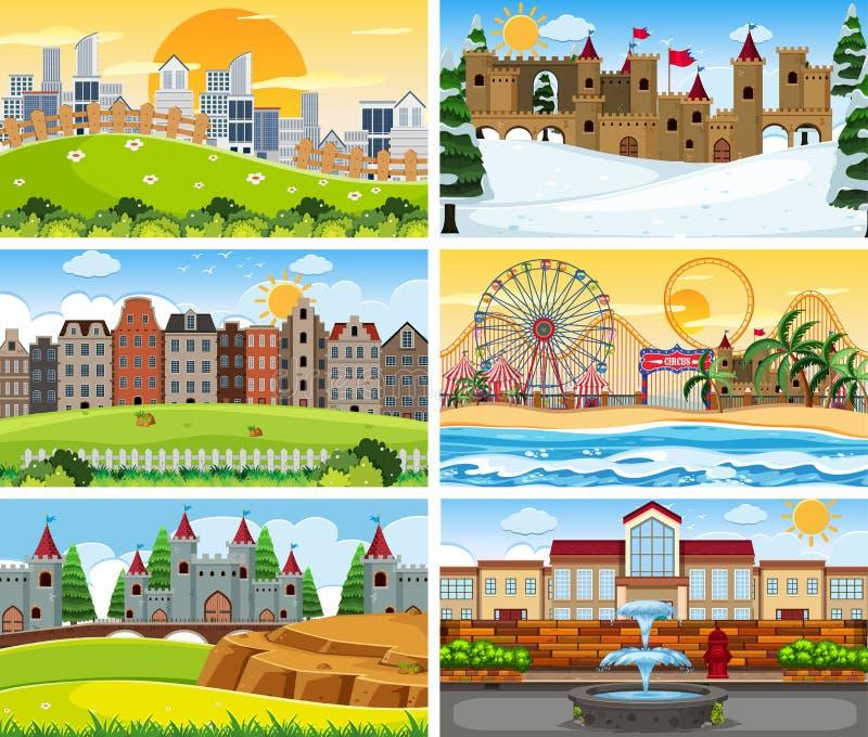 Grote reeks verschillende scènes stock illustratie