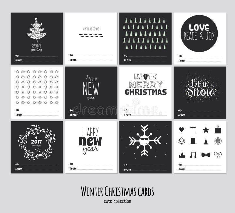 Grote reeks vierkante zwart-witte de winterkaarten vector illustratie