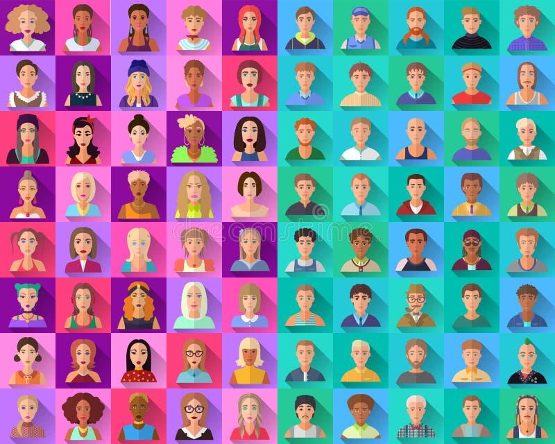 Grote reeks vlakke pictogrammen van diverse mannelijke karakters stock illustratie