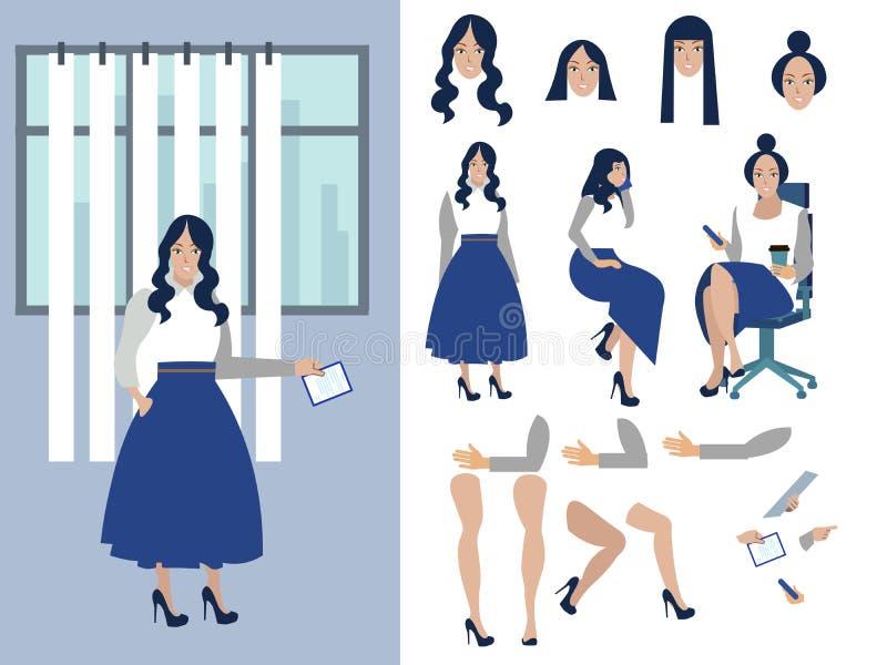Grote reeks voor de animatie van een onderneemsterkarakter op een witte achtergrond Weergeven rechtstreeks, kant, vlakke rug stock illustratie