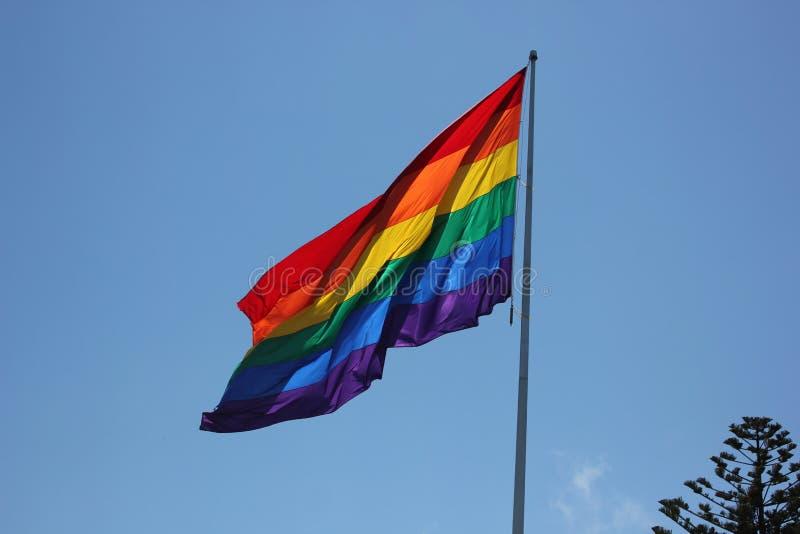 Grote Regenboogvlag die in de Wind blazen stock afbeeldingen