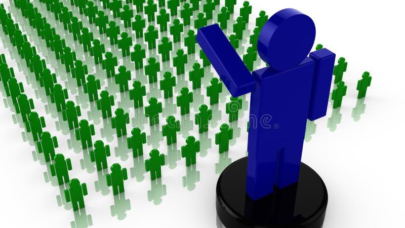 Grote reusachtige blauwe leider die aan een menigte van kleine mensen golven royalty-vrije illustratie