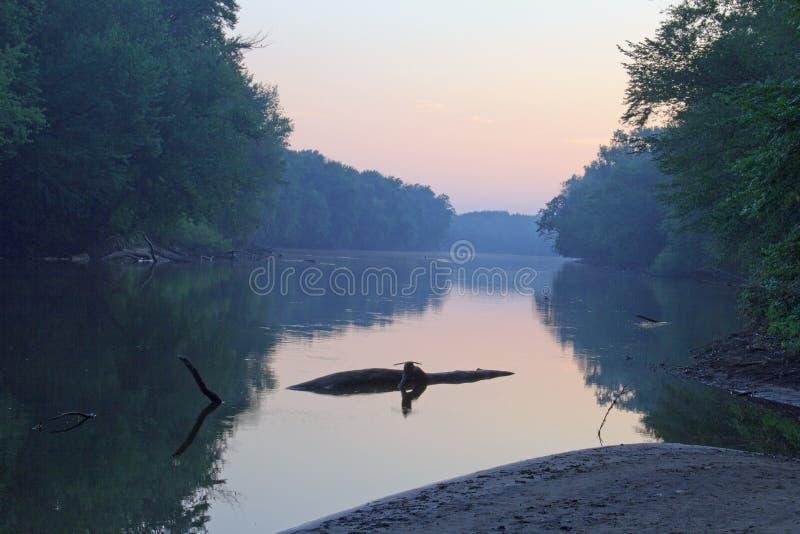 Grote Rivier in Grand Rapids Michigan stock foto's