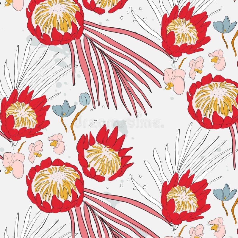Grote rode bloemen met orchidee en bladerenpatroon Mooie de lentetextuur met bloesem Wildernis tropische decoratie romantisch royalty-vrije illustratie
