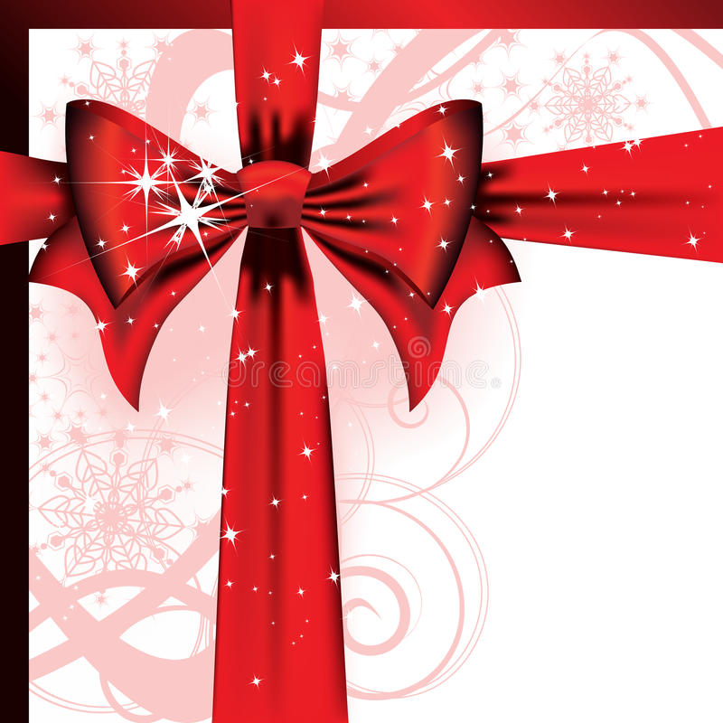 Grote rode boog op een magische brief van Kerstmis vector illustratie