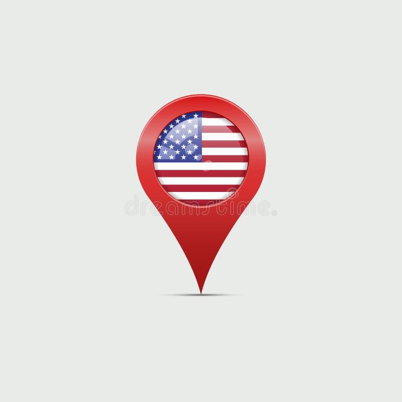 Grote Rode 3D de Kaartteller van de V.S. met Schaduw op Licht Grey Background Vector illustratie Ster-gestreepte Amerikaanse Vlag royalty-vrije illustratie