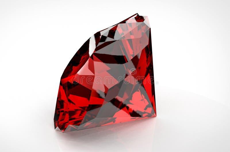 Grote rode die diamant op witte achtergrond wordt geïsoleerd vector illustratie
