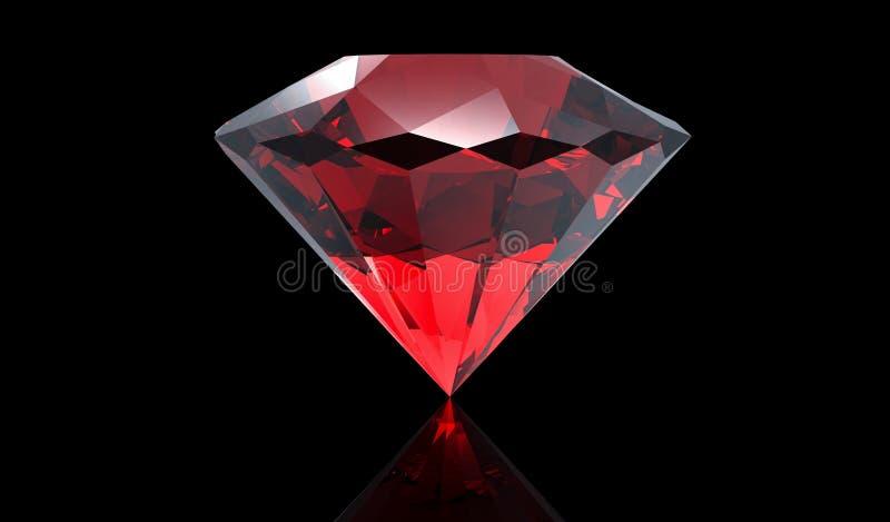 Grote rode die diamant op zwarte achtergrond wordt geïsoleerd vector illustratie