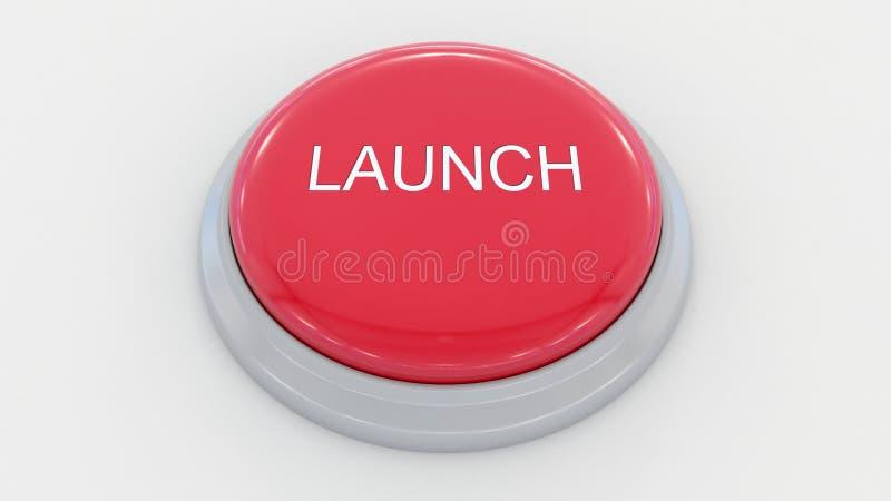 Grote rode knoop met lanceringsinschrijving Het conceptuele 3d teruggeven royalty-vrije illustratie