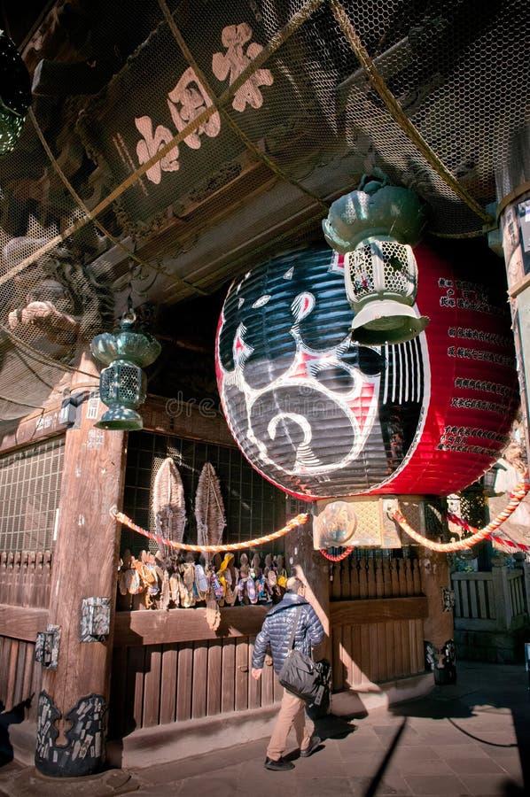 Grote rode lantaarn bij Narita San Shinsho ji tempel, Narita, Chiba stock afbeelding