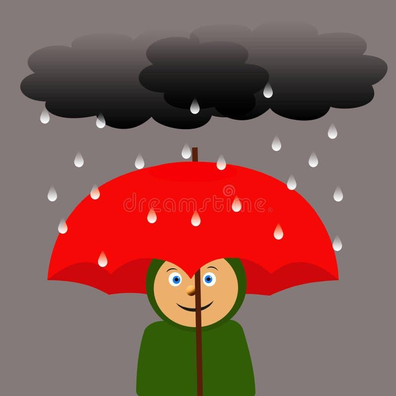 Grote rode paraplu vector illustratie