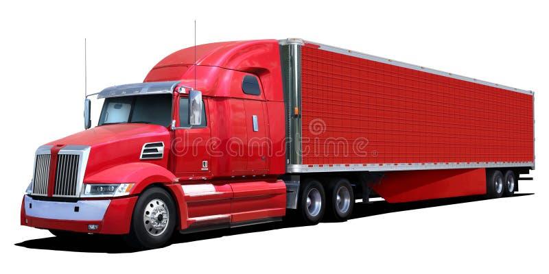 Grote rode vrachtwagen stock foto's