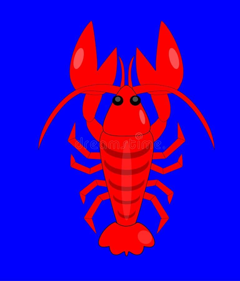 Grote rode zeekreeft in de blauwe oceaan vector illustratie