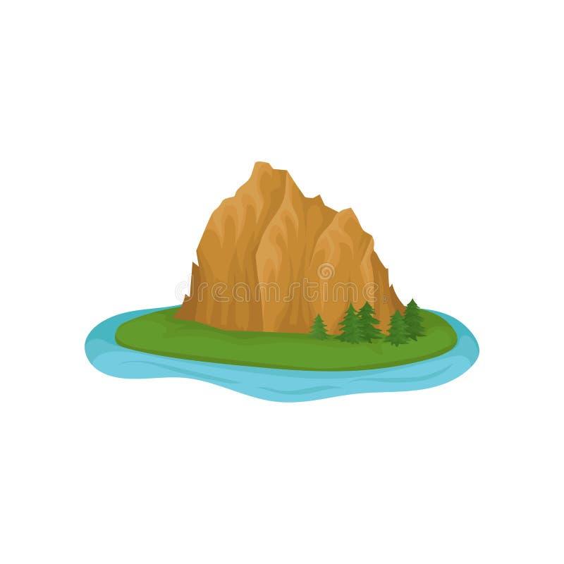 Grote rotsachtige berg en groene die sparren op eiland door water wordt omringd Natuurlijk element voor videospelletje of reiskaa royalty-vrije illustratie