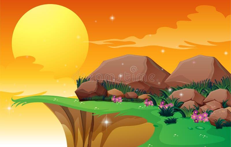 Grote rotsen dichtbij de klip stock illustratie