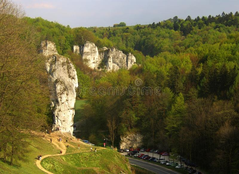 Grote rotsen in Polen stock foto