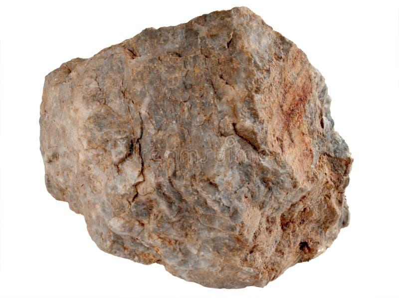 Grote rotssteen die op een witte achtergrond wordt geïsoleerd1. stock fotografie