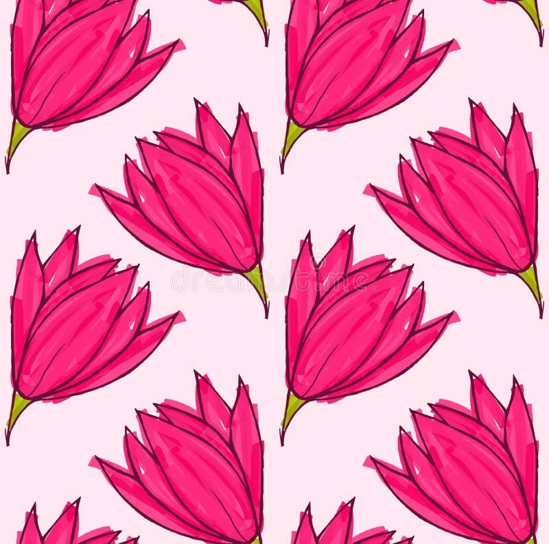 Grote roze bloem op stevig roze royalty-vrije illustratie