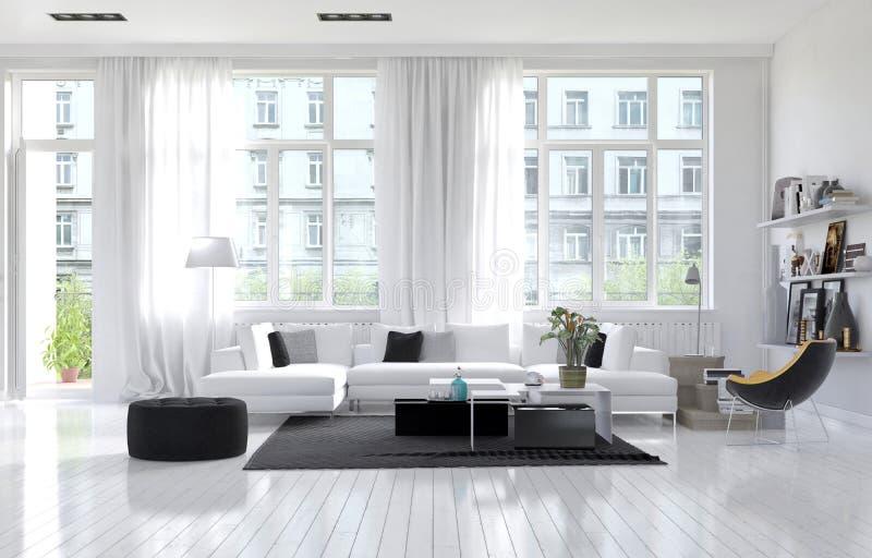 Grote ruime moderne witte woonkamer stock illustratie