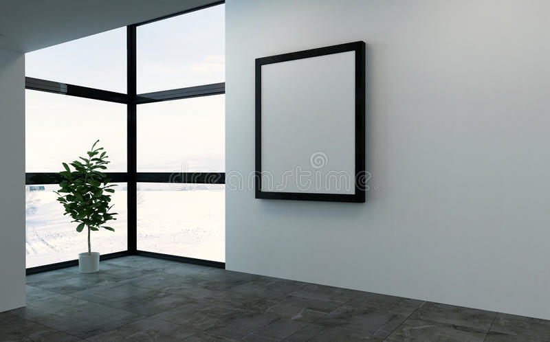 Grote ruimte met grote kader en vensters stock illustratie