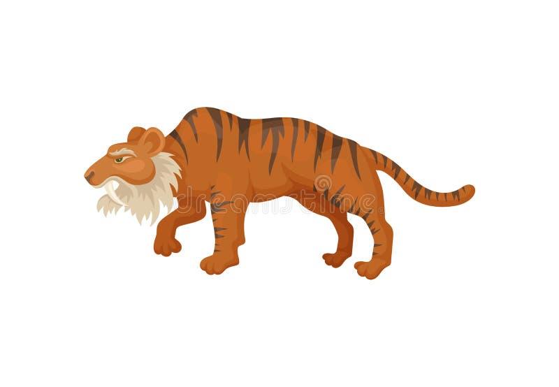 Grote sabel-tand tijger of smilodon, zijaanzicht Voorhistorisch zoogdier Wild dier van ijstijd Vlak vectorontwerp vector illustratie