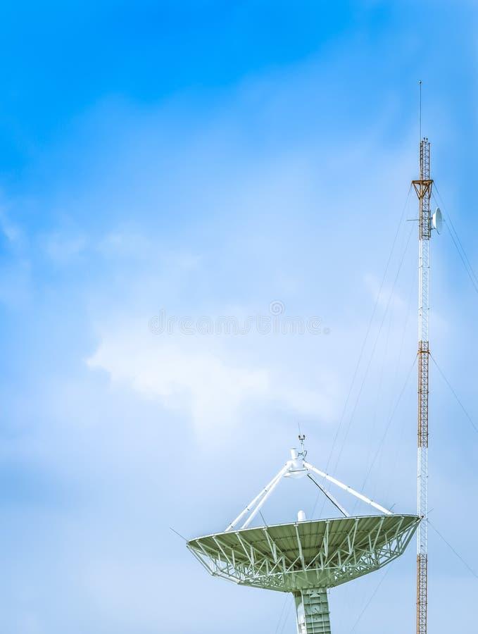 Grote satellietschotel met antenne stock fotografie