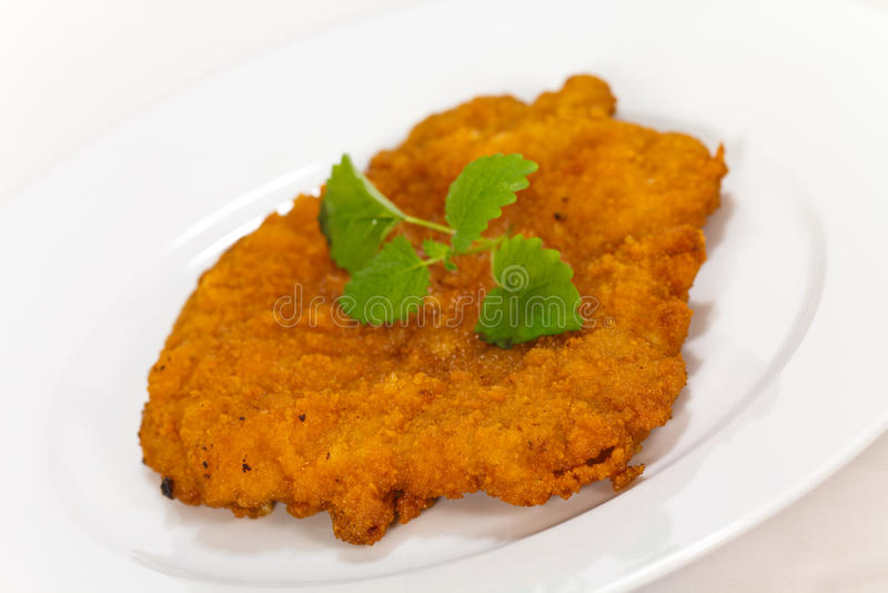 Grote schnitzel-Escalope met Salade royalty-vrije stock foto