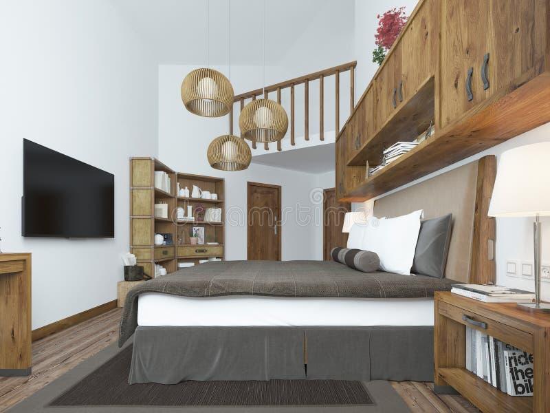 Grote slaapkamer in moderne stijl met elementen van een rustieke zolder royalty-vrije stock afbeelding