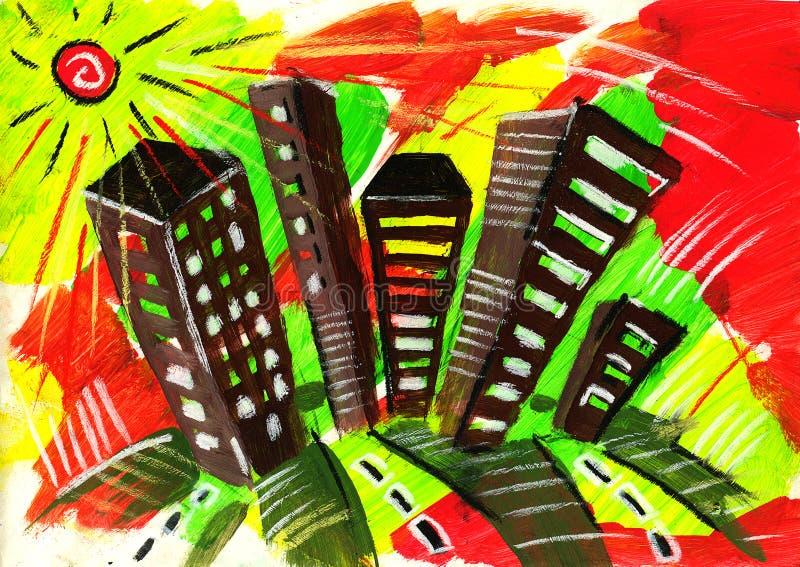 Grote stad. De zomer en wegen en straat, vector illustratie