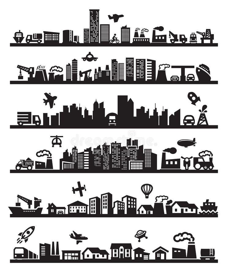 Grote stadspictogrammen royalty-vrije illustratie