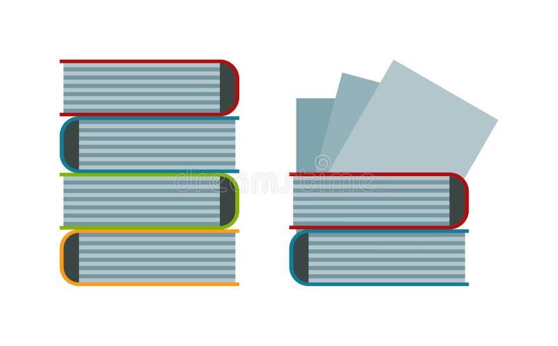 Grote stapel van de oude antieke van de de literatuurschool van het boekenonderwijs vectorillustratie stock illustratie