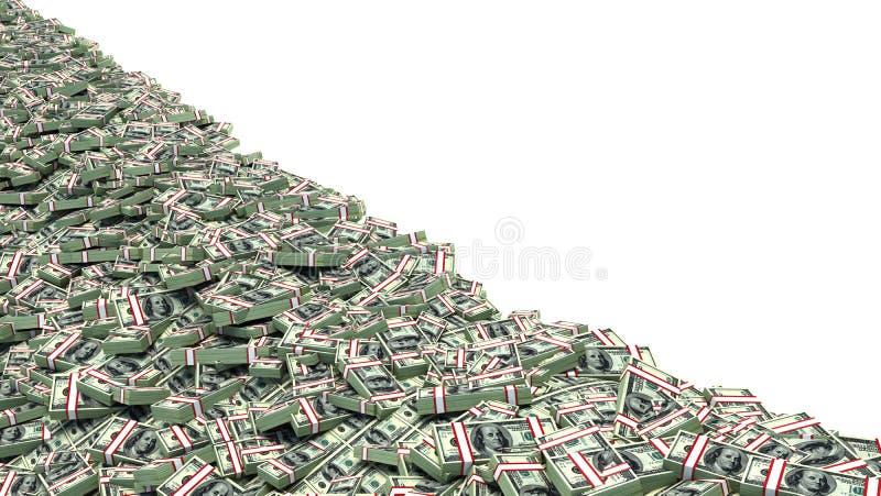 Grote stapel van geld dollars over witte achtergrond vector illustratie