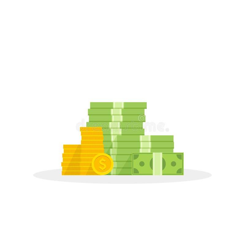 Grote stapel van geld en muntstukken, hoop van stijl van het contant geld de vlakke beeldverhaal Vector illustratie royalty-vrije illustratie