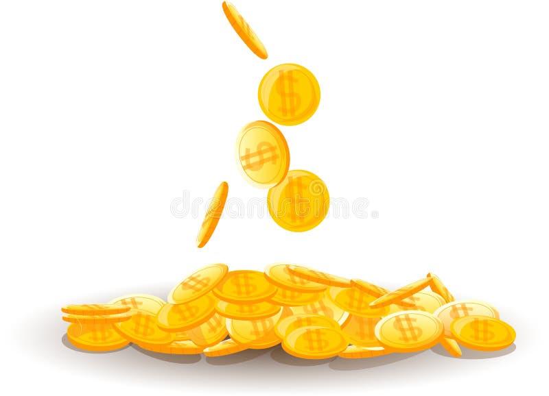 Grote stapel van muntstukken, geld vector illustratie