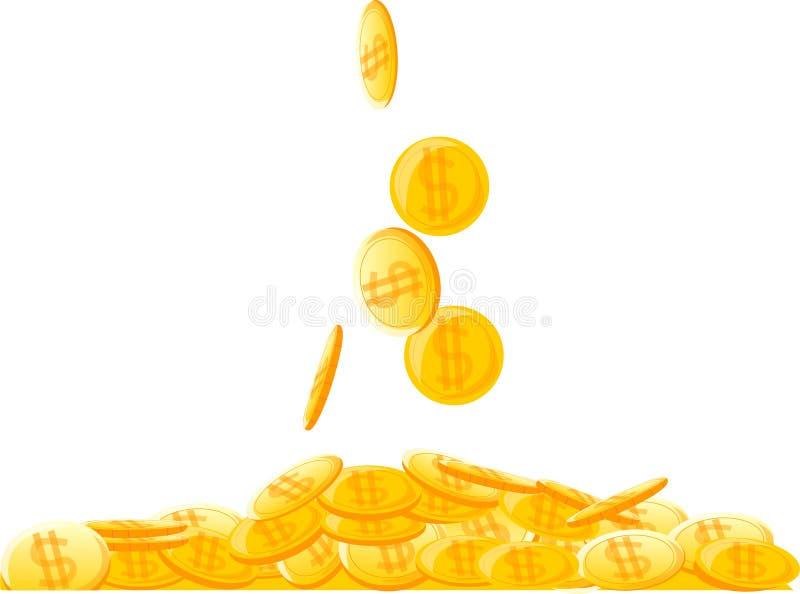 Grote stapel van muntstukken, geldvector stock illustratie