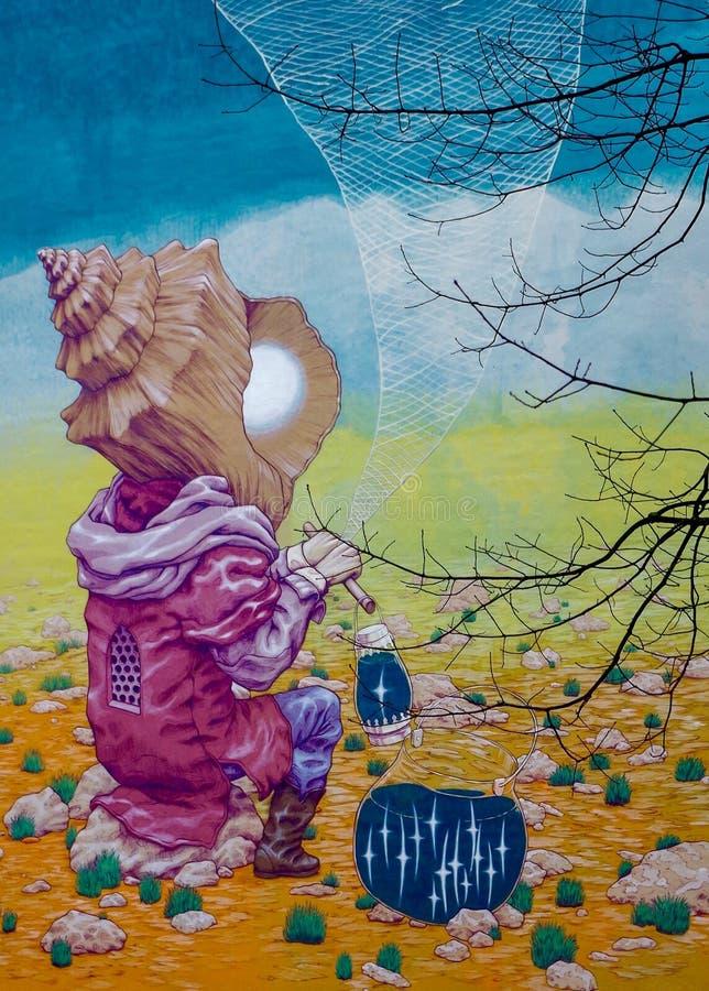 Grote Stedelijke de Bouwmuurschildering de stad in, Portland, Oregon, de V.S. royalty-vrije stock foto