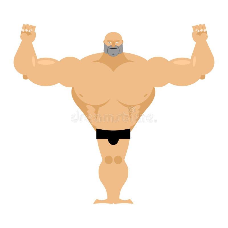 Grote sterke mannelijke atletiek Bodybuilder met reusachtige spieren vector illustratie