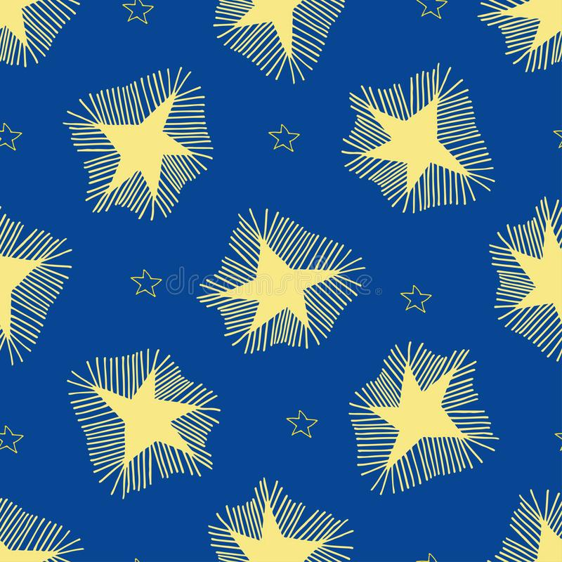 Grote sterren met stralen en kleine overzichtssterren vector illustratie