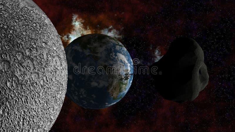 Grote Stervormige naderbij komende Aarde royalty-vrije illustratie