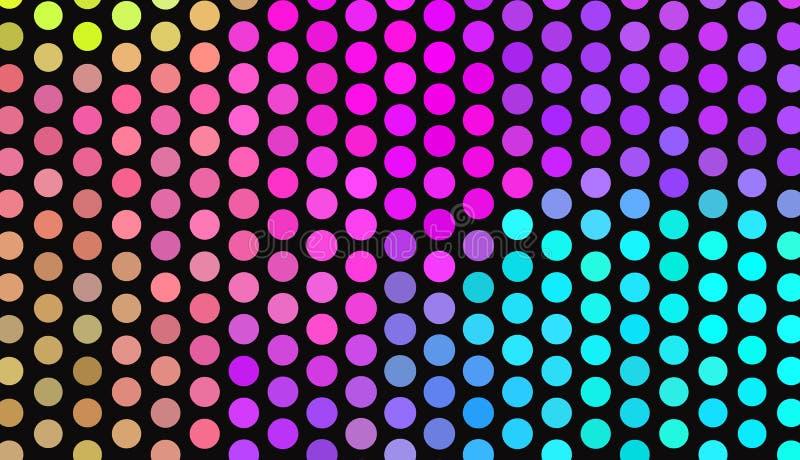 Grote stippen op donkere achtergrond Heldere neonkleuren Levendige gradiënt Abstract Geometrisch patroon royalty-vrije illustratie