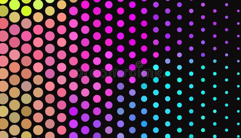 Grote stippen op donkere achtergrond Heldere neonkleuren Levendige gradiënt Abstract Geometrisch patroon vector illustratie