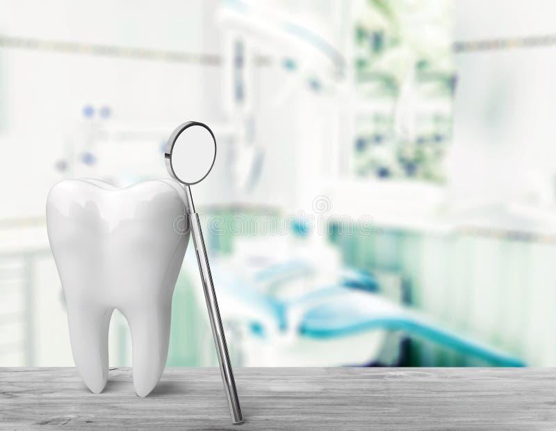 Grote tand en tandartsspiegel, medisch concept royalty-vrije stock foto's